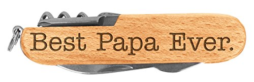 Fathers Day Gift for Grandpa Best Papa Ever Laser Engraved Wood 6 Function Multitool Pocket Knife (Function Six Knife)