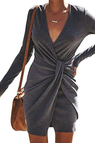 - Arainlo Women's Vintage Long Sleeve Solid Draped Belted Sheath Wrap Short Dress Open Deep V Bandage Bodycon Pencil Sexy Dress for Ladies Gray XL