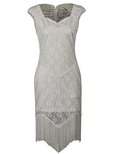 Vijiv Vintage 1920s Inspired Embellished Beaded Lace Cocktail Flapper Dress (Womens Fancy Dress Wigs)