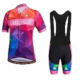 Uriah Women's Cycling Jersey Bib Shorts Black Sets Short Sleeve Reflective Big Universe Size 5XL(CN)