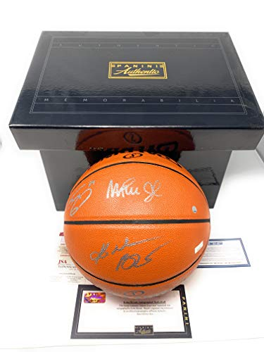 Kobe Bryant Shaquille O'Neal Magic Johnson Los Angeles Lakers Triple Signed Autograph NBA Game Basketball Steiner JSA & Panini Authentic Certified from Mister Mancave