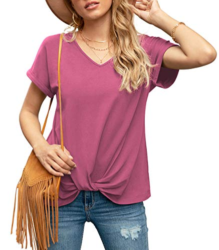 Iandroiy Women's Twist Knot Tops Short Sleeve V Neck Tshirts