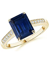 14K Yellow Gold Plated 925 Sterling Silver Beautiful 1.33 CTTW Created Double Claw Set Emerald Cut Blue Sapphire Solitaire Ring For Womens