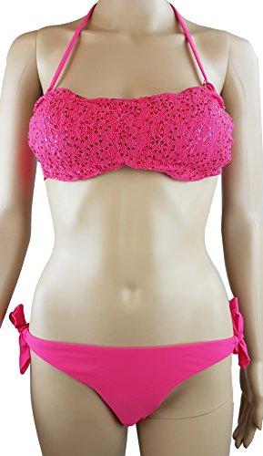Bikini Neckholder / Bandeau mit Pailletten / Gr.36 S / Träger abnehmbar/ Cups herausnehmbar / pink