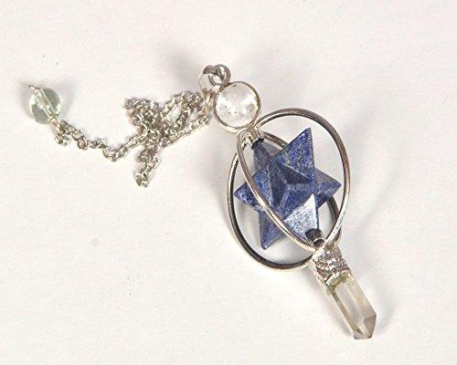 - WholesaleGemShop Lapis Lapis Spinning Merkaba Pendulum Dowsing Healing Chakra Balancing Reiki AAA