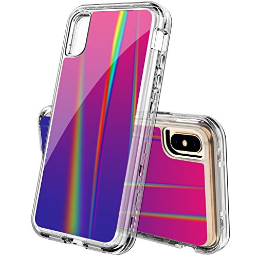 ACKETBOX Case for iPhone Xs Max,Laser Beam Aurora Design Heavy Duty Full Body Protective Cover PC Case Clear Bumper +Transparent Flexible TPU for iPhone Xs Max(Aurora)