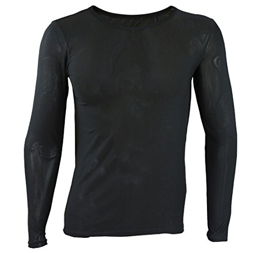 ae0609f2cac365 YiZYiF Men's Mesh Sheer T-Shirt Top Transparent Long Sleeve Slim Fit  Undershirt