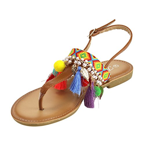 Evigt If85 Kvinnor Bohemisk Pompom Tofs Aztec Ankelbandet Platt Rem Sandal Tan