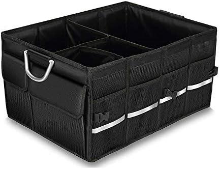 カーオーガナイザートランク 車の収納ボックス - 8メッシュで車のトランクオーガナイザーは、セダン、SUV、ブラック用の折りたたみ貨物保管コンテナとストラップハンドルポケット -カーアクセサリー (Color : B, Size : 60x43x30cm)