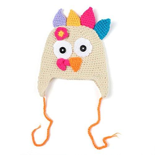 Coohole Cosset's Photography Props Chiken Cap Handmade Crochet Turkey Autumn Winter Hat (S, Beige)