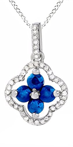 Simulated Blue Sapphire & Natural Diamond Accents Clover Pendant in 10K Solid White Gold (Diamond Clover Accent Pendant)