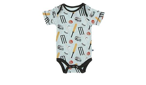 3-6 Months KicKee Pants Print Short Sleeve Polo Romper in Spring Sky Cricket