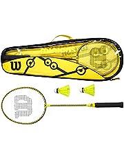 Wilson Minions Badmintonset, 2 rackets, 2 shuttles, draagtas, geel/zwart, WR065310F2
