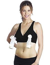 Racerback Pump&Nurse Nursing Bra with built in hands-free pumping bra - Black, XL