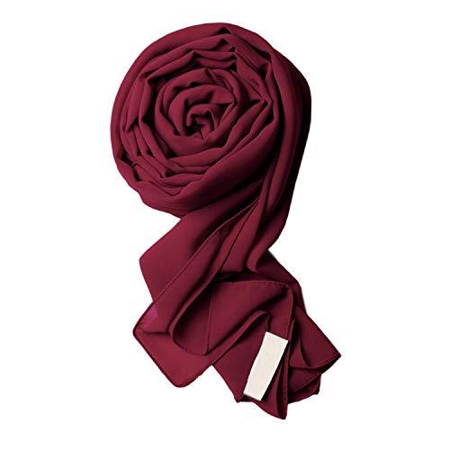 Voile Chic Burgundy Premium Chiffon Wrap Head Scarf (Non-Slip)