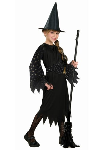 Halloween Concepts Child's Witch Costume with Flocked Velvet Spider Web Fabric, Medium