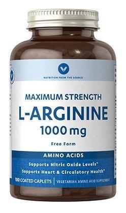 Vitamin World L-Arginine 1000mg Maximum Strength 100 Coated Caplets