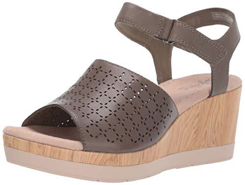 (CLARKS Women's Cammy Glory Wedge Sandal Olive Leather 095 M US)