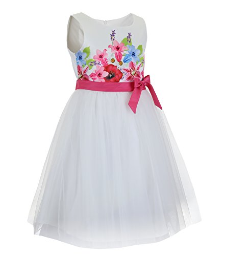 Emma Riley Girls' Flower Bodice Dress with Tulle Skirt 14 Rose red -