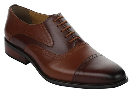 Liberty Men's Handmade Leather Classic Oxford Lace Up Perforated Cap-Toe Dress Shoes Brown/Tan