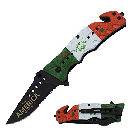 - AnyTime Blades Luck O' The Irish Trump Make America Great Again Assisted Open Rescue Pocket Knife