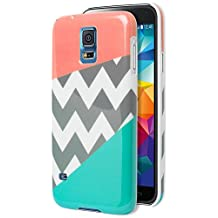 Galaxy S5 Case, Bastex Heavy Duty Snap On Protective Case - Pink and Teal Tri Color with Chevron Design Hard Case for Samsung Galaxy S5, i9600