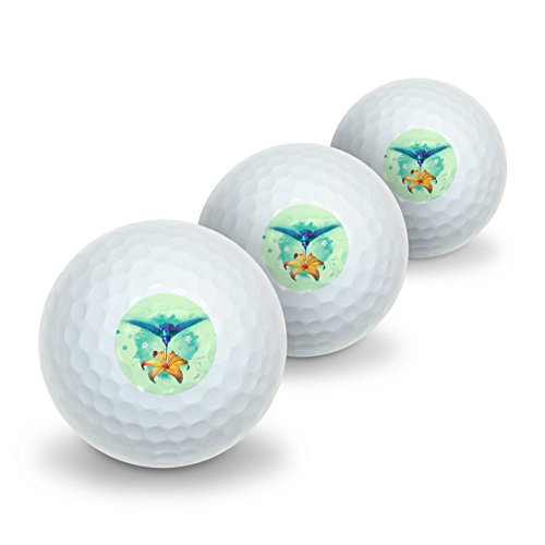 Golf Hummingbird (Graphics and More Hummingbird and Tiger Lily Flower Novelty Golf Balls 3 Pack)