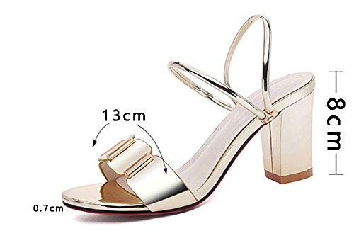 und Heel High Hausschuhe ZCJB Oberbekleidung Hausschuhe Heel dicke Silber Sommer Sandalen Frau Mid Ferse anPCqF4Ww6