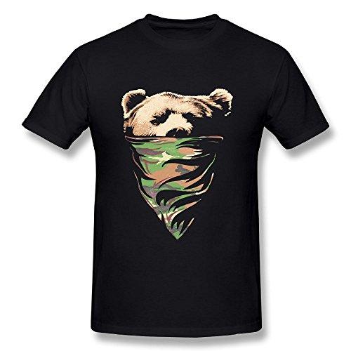 Rebecca-P Mens T Shirts-Cool California Republic Camouflage Bandana Bear Black 4XL