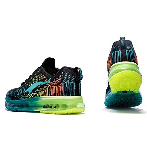 ONEMIX Men's Air Cushion Running Shoes,Zapatillas de Running para Hombre Deporte y Aire Libre de Malla Transpirables Azul Negro