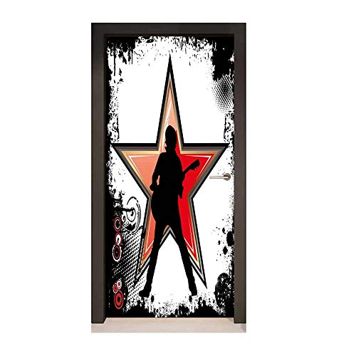 Homesonne Rock Music Door Decal Guitar Player Star Abstract Monochrome Splashes and Halftone Frame Pattern Decorative Door Sticker Black Red Peach,W23.6xH78.7
