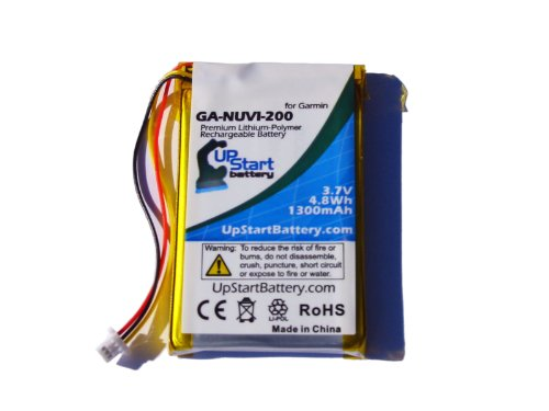 Polymer Gps Battery - Garmin Nuvi 265W Battery - Replacement for Garmin GPS Navigator Battery (1300mAh, 3.7V, Lithium Polymer)