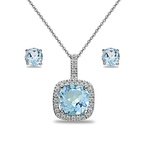 (Sterling Silver Blue and White Topaz Cushion-Cut Pendant Necklace & Stud Earrings Set)
