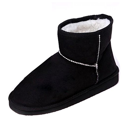 Gaorui New Popular Mujeres Soft Winter Warm Snow Botas Zapatos Faux Suede Moda 5-7.5 Negro