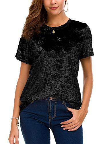- Women's Crew Neck Velvet Top Short Sleeve T-Shirt (M, Black)