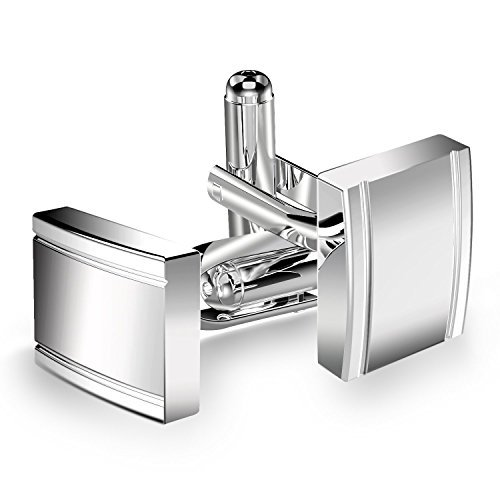 UHIBROS Jewelry Stainless Steel Classic Tuxedo Shirt Cufflinks For Men Unique Business Wedding White