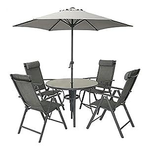 HECTARE Kennet Reclining 4 Seater Garden Dining Set Grey