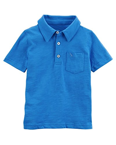 Carters Boys 2T-8 Short Sleeve Print Jersey Polo (Blue Solid/Dino, 4T) -