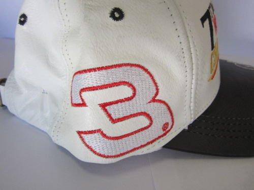 Dale Earnhardt Sr #3 Seven 7 Time NASCAR Winston Champion Champ White & Black Leather Hat Cap One Size Fits Most OSFM Chase Authentics