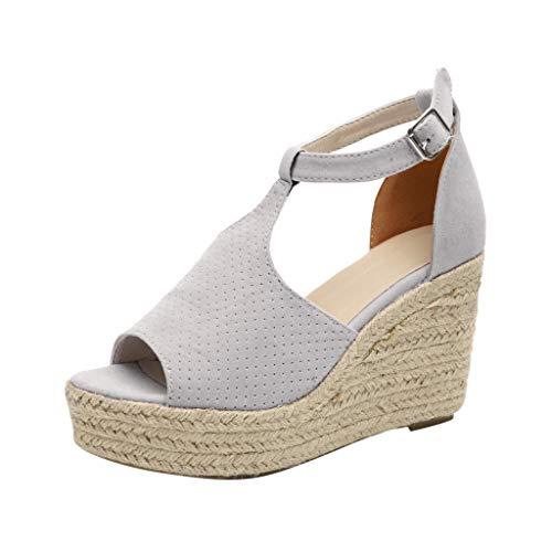 Women's Platform Wedge Sandals Cut Out Espadrille Leopard High Heel Buckle Ankle Strap Open Toe Shoes