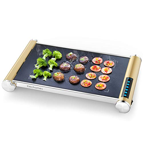900W Electric Grill Griddle with LED Touch Control - Glass