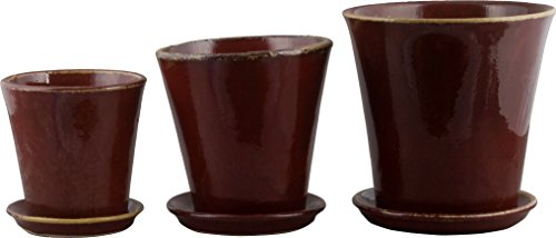 OD001 1pc, Home Décor, Set/3 Red Round Planters (Compote Round)