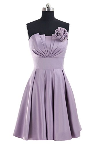 Huafeiwude Womens Strapless Knee Length Satin Bridemaid Cocktail Dresses Lilac XL