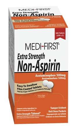 - Extra Strength Non-Aspirin, 500mg, PK100