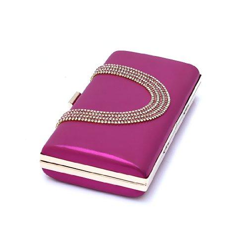 H:oter Frauen u. Mädchen Eleganz & Abschlussball-Partei-Abendhandtasche mit Kristall magischen Ring Griff, Handtasche, Geschenkideen - verschiedene Farben, Preis/Stück Hotpink