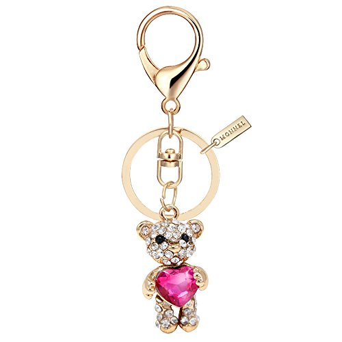 Bling Crystal Teddy Bear with Pink Heart Keychain Creative Packaging Box MZ823-1