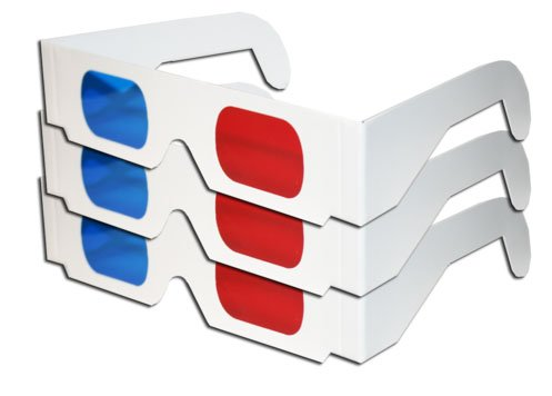 Red & Blue White Cardboard Glasses (3 Pairs) MADE IN - Red 3d Glasses Blue