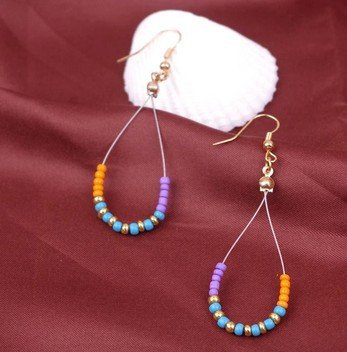 WLLAY Colorful Beaded Hollow Out Water Drop Hook Earring Boho Style Dangle Ear Jewelry