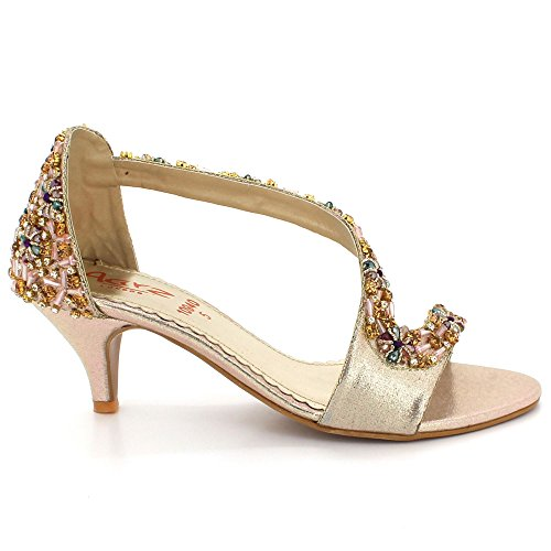 AARZ LONDON Womens Ladies Crystal Open Toe Evening Party Wedding Bridal Prom Diamante High Heel Sandals Shoes Size Gold Gq9qCGRwPl