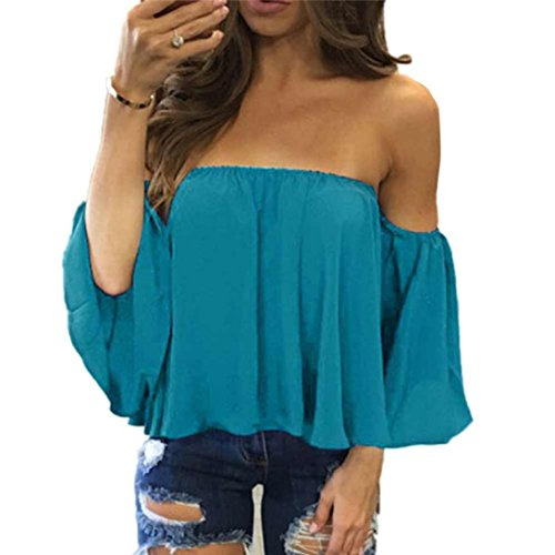 FORUU T Shirts for Women Long Sleeve Sexy Pullover Off Shoulder Casual Blouse Sky -